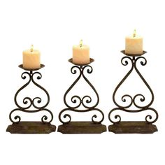 Benzara Elegant Design and Structure Wrought Iron Candle Holders                                                                                                                                                                                 Mais