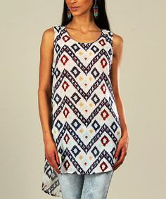 Another great find on #zulily! White & Red Zigzag Sleeveless Tunic - Women & Plus #zulilyfinds
