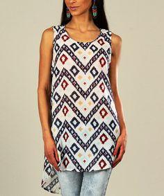 Look at this #zulilyfind! White & Red Zigzag Sleeveless Tunic - Women & Plus by Kushi by Jasko #zulilyfinds