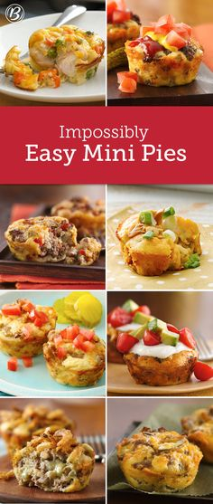 Impossibly Easy Mini Pies Your family is sure to love these muffin-tin twists on their favorite dinners. Customizable, freezable and perfect for lunch, dinner or as an on-the-go snack! Muffin Pan Recipes, Cupcake Pan Recipes, Mini Pie Recipes, Loaf Recipes, Egg Recipes, Casserole Recipes, Cake Recipes, Sandwiches, Bisquick Recipes
