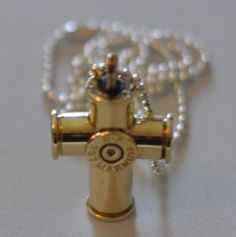 Remington Peters 357 Magnum Pistol  Bullet Cross  Custom Made  With Silver Plate Bead Necklace by OnTargetJewelry on Etsy