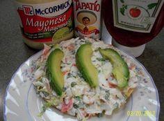 Mexican Crab Tostadas  (Tostadas de Jaiba)--ALL EXCEPT THE AVOCADO FOR ME--I WOULD DO SHREDDED LETTUCE OR CABBAGE --D.