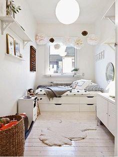 Hacer camas con espacio para almacenar con cómodas de cajones