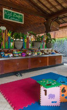 Kids buffet and playarea at InterContinental Bali Resort in Jimbaran, Bali. #buffet #kids
