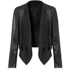 Yoins Yoins Cropped Leather Biker Jacket ($26) ❤ liked on Polyvore featuring outerwear, jackets, leather jackets, coats, casacos, coats & jackets, black, cropped jacket, faux-leather jacket and leather rider jacket