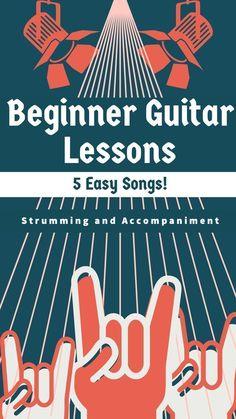 Beginner Guitar Lessons – Strumming and Accompaniment lesson including 5 songs for beginner guitarists. Guitar Songs For Beginners, Guitar Chords Beginner, Easy Guitar Songs, Guitar Tips, Music Guitar, Playing Guitar, Learning Guitar, Guitar Notes, Learn Guitar Beginner