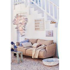 Sofa, 2,5-Sitzer, abnehmbare Husse, Shabby Chic, Leinenbezug Vorderansicht