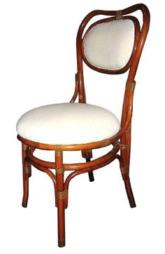FRENCH BISTRO SIDE CHAIR, HK-62. WHITE MUSLIN,  AVAILABLE IN 3 WOOD FINISHES