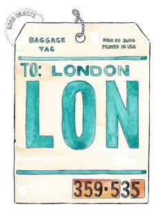 Good objects - London vintage flight tag #watercolor #illustration