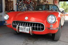 "Route 66 - A red Corvette on old 66. Just perfect. ""The Fine Art Photography of Frank Romeo."""