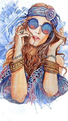 New Ideas For Trippy Art Hippie Drawings Art And Illustration, Fashion Illustration Face, Arte Pop, Hippie Art, Hippie Chic, Hippie Drawing, Hippie Painting, Hippie Peace, Artist Painting