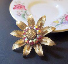 Vintage Lisner Red AB Rhinestone Flower Pin Signed #Lisner