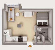 Planta. Pequeno apartamento de 20 m².