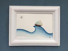 Sea Glass Art, Painting Videos, Beach Look, Pebble Art, Coastal Decor, Shabby, Jewellery, Frame, Etsy