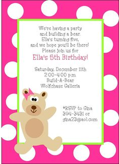 Buildabear inspired birthday party invitation by thepartyfavordiva buildabear inspired birthday party invitation by thepartyfavordiva 1995 reina pinterest party invitations birthdays and bears filmwisefo