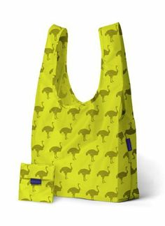 """Baggu 7-94504-31762-6 Reusable Bag, Ostrich Print by Baggu. $10.99. Machine washable. Ostrich Print. Holds 50 lbs. Holds 2-3 plastic grocery bags of stuff. Folds into a flat 5"""" by 5"""" pouch. """"Baggu"""" Reusable Bag   BAGGU® makes simple, high quality bags in many bright colors. They're durable and fill many uses so you can own less stuff. Our best selling reusable bag is not just for the grocery store. Carry in your hand or over your shoulder.   Features:-  ?Ostrich Print..."""