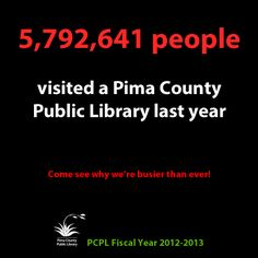 5,792,641 people visited a Pima County Public Library last year. Come see why we're busier than ever!