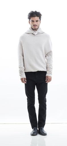 NFP:  N1-WC Wool Cashmere Elastic Waist Hooded Pullover