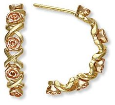 10K Black Hills Gold Semi Hoop Earrings with Roses * Click image to review more details. Note:It is Affiliate Link to Amazon.