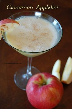 Cinnamon Appletini - a sweet apple martini - you must pin!  Use for the holidays when you get tired of eggnog