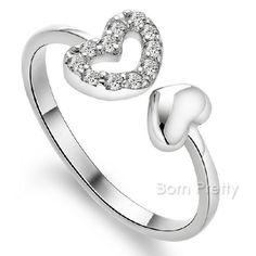 $1.99 Snowflake Open Adjustable Ring Christmas Theme Silver Ring - BornPrettyStore.com