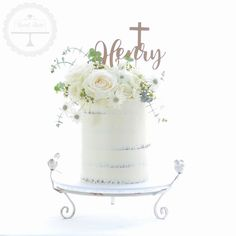 Semi-naked christening cake with fresh florals and cutomised topper. Boy Communion Cake, First Holy Communion Cake, Baby Boy Christening Cake, Baptism Cakes, Christening Cake Toppers, Boy Baptism, Baptism Ideas, Baby Shower, Dedication Cake