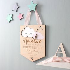 Cloud Christening Details Keepsake l No Ordinary Gift Company Gifts For Mum, New Baby Gifts, Christening Gifts For Girls, Whimsical Nursery, Laser Cutter Projects, Wooden Flag, Baby Memories, Baby Keepsake, Wood Centerpieces