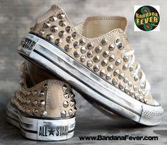 Bandana Fever Custom Studded Khaki Converse All-Star Chuck Taylor Ox Silver Round Pyramid Studs Sides