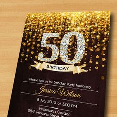 Black gold high heels womans birthday party invitation 50th black gold silver 50th birthday decorations google search filmwisefo