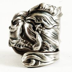 Tulip Floral Spoon Ring Etremely Art Nouveau Sterling by Spoonier