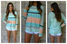 Cute sweater. Wear longer shorts of course.
