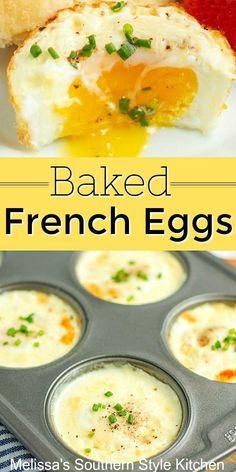 Make these easy and delicious baked eggs in a muffin pan bakedeggs frencheggs eggrecipes brunch breakfast dinnerideas southernfood holidaybrunch easterbrunch christmas lowcarb ketorecipes melissassouthernstylekitchen # Breakfast Dishes, Breakfast Time, Egg Dishes For Brunch, Breakfast Egg Recipes, Breakfast Ideas With Eggs, Easy Egg Breakfast, French Breakfast Foods, Egg Recipes For Dinner, Delicious Breakfast Recipes