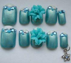 Day Embellished Nail Art with Dangle Nail Charms, Dangles, Nail Art, Charmed, Nail Fashion, Nails, Mermaid, Sea, Beauty