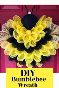 This adorable DIY Bee Wreath is what the buzz is all about! Crafted by Lily's Wreath Boutique, this DIY bumblebee wreath was created using a Unique in the Creek Flower Board! Get yours by going to Lily's Wreath Boutique or stop by Unique in the Creek Burlap Flower Wreaths, Sunflower Wreaths, Deco Mesh Wreaths, Easter Wreaths, Holiday Wreaths, Wreath Burlap, Mesh Wreaths Summer, Ribbon Wreaths, Tulle Wreath