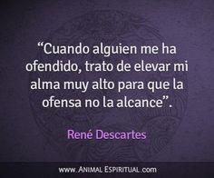 Cuando alguien me ha ofendido, trato de elevar mi alma muy alto para que la ofensa no me alcance , René Descartes