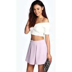 Boohoo Dani Jacquard Waffle Box Pleat Skater Skirt ($10) ❤ liked on Polyvore featuring skirts, lilac, midi skirt, pleated circle skirt, box pleat skirt, flared midi skirt and skater skirt