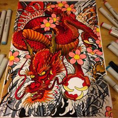 Working on this dragon and koi piece with the copic sketch markers. #dragon #demon #drawing #dragonhead #dragonsleeve #dragontattoo #sakura #sakurabloom #cherryblossom #cherryblossoms #cherryblossomtattoo #koi #koitattoo #koifishtattoo #koipainting...