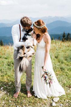 This bridal couple brought their Australian shepherd dog to their wedding in the mountains of Bavaria. Wedding Photography Poses, Wedding Poses, Wedding Ideas, Wedding Pictures, Wedding Details, Wedding Inspiration, Dog Wedding, Elope Wedding, Dreams