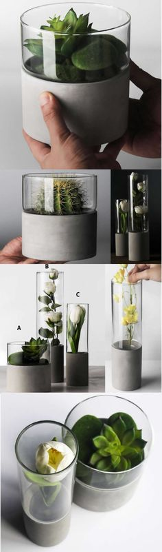 Modern Home Decor Glass Concrete Minimalist Vase Collection Flower Pots Succulent Planter Planters Art Deco style that add a modern geometric Vase look to your home decor.