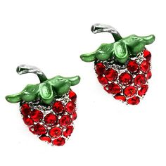 strawberry crystal post earrings