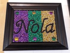 bead art using recycled frames and Mardi Gras beads. by ElBeadArt Mardi Gras Beads, Mardi Gras Party, Mardi Gras Decorations, Holiday Decorations, Bead Crafts, Arts And Crafts, Craft Projects, Craft Ideas, Project Ideas