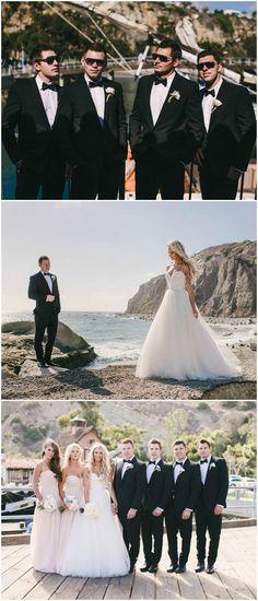 California beach wedding fashion, light pink bridesmaid dresses, sunglasses, black bowties, formal groomsmen, strapless wedding dress, white floral wedding bouquets // Vitaly M Photography
