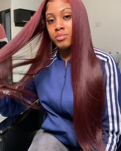 Thriving Hair Pure Burgundy Red Color Virgin Human Hair Smooth Silky Straight Full Lace Wigs For Women Silky Hair, Smooth Hair, Remy Human Hair, Human Hair Wigs, Lace Front Wigs, Lace Wigs, Hair Lights, Wine Red Hair Color, Red Color