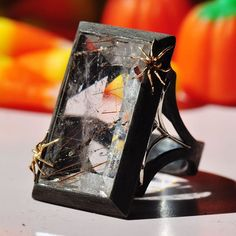 Spider tricks and Rutilated Quartz treats 🕷🕷 This spooky Rutilated Quartz ring is perfect for spider lovers and witches - Rutilated Quartz Spider ring by Ricardo Basta Fine jewelry