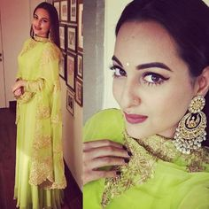 You must be excited about the Diwali Party and also worried about your Look for the tonight party.Get some ideas from the Top 10 Diwali Look. Indian Dresses, Indian Outfits, Indian Attire, Sonakshi Sinha Saree, Cute Actors, Indian Designer Wear, Bridal Looks, Cool Suits, Summer Looks
