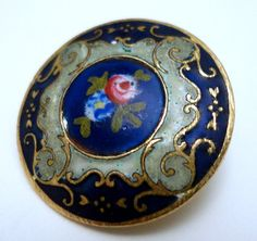 Antique Enamel Button with Rose Center 7 8""