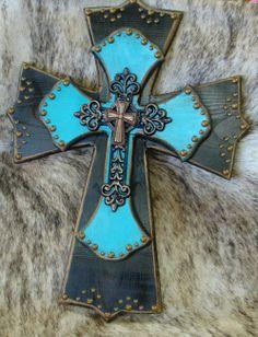 wood cross with turquoise cross