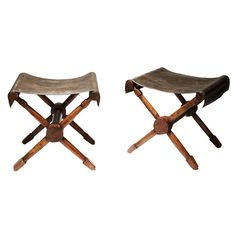 Leather and wood camp stools