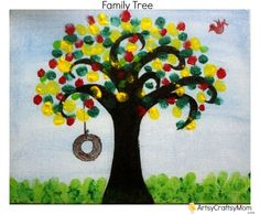 Artsy Craftsy Mom: Crafty Chimp Craft Kit - DIY Fingerprint Family Tree #Canvas #Fingerpaint #EasyArt .. Each family member adds a leaf of his colour choice.