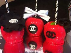 Black, red and white candy apples! Chanel inspired #customsweetsbyshavonna Facebook and twitter